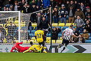 Steve Morison of Millwall scores the winning goal during the FA Cup match at The Den, London<br /> Picture by Liam McAvoy/Focus Images Ltd 07413 543156<br /> 29/01/2017