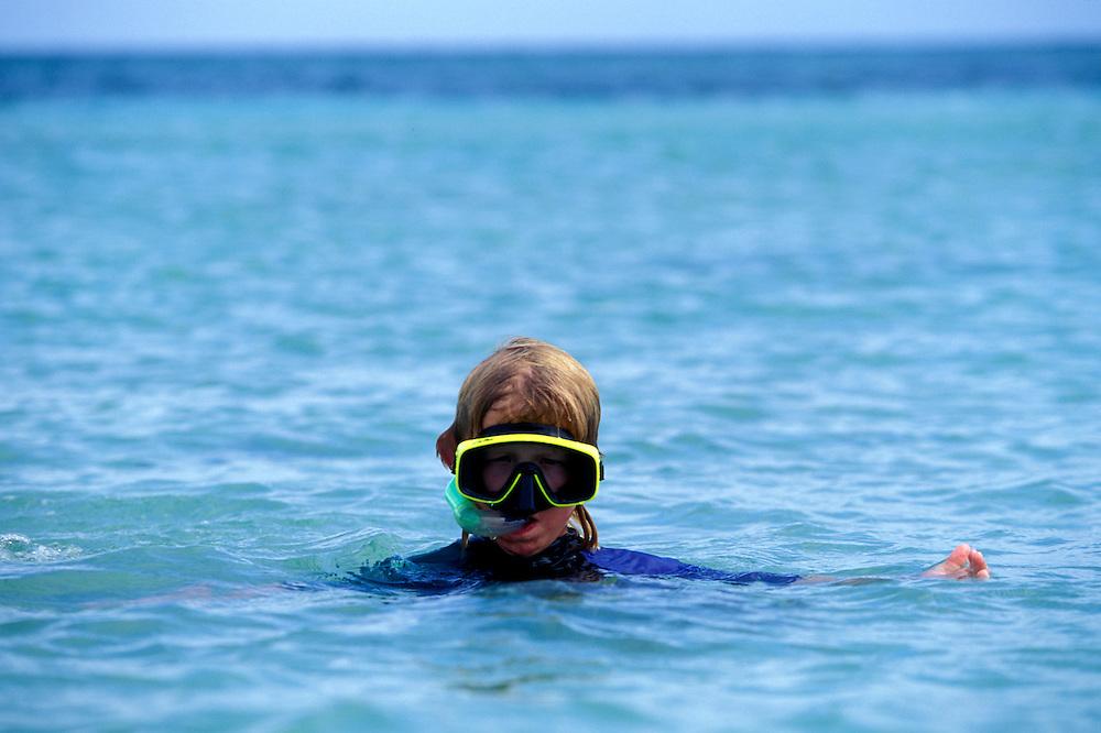 Australia, Great Barrier Reef, Young boy snorkels in waters off Green Island Resort near Cairns