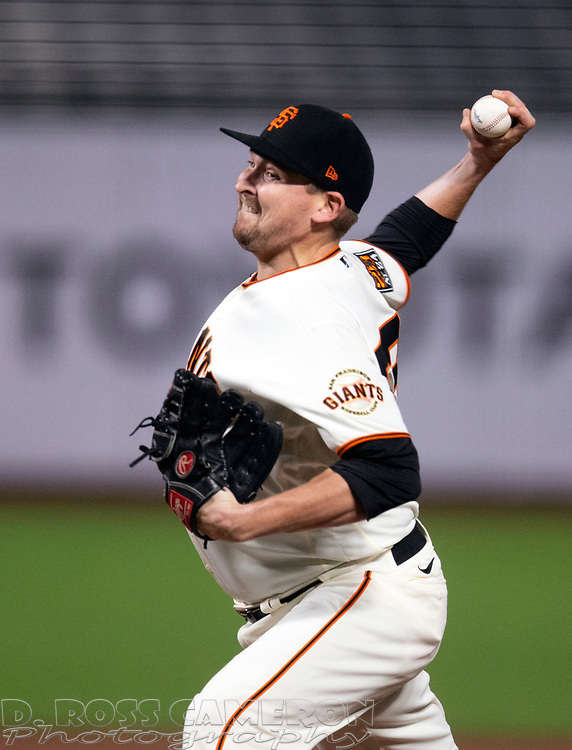 Sep 16, 2020; San Francisco, CA, USA; San Francisco Giants pitcher Trevor Cahill (53) delivers a pitch against the Seattle Mariners during the fourth inning of a baseball game at Oracle Park. Mandatory Credit: D. Ross Cameron-USA TODAY Sports