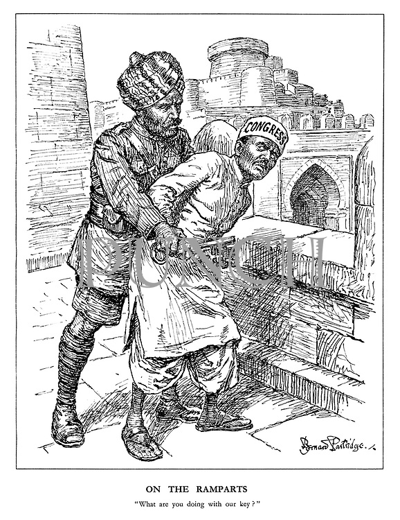 """On the Ramparts. """"What are you doing with our key?"""" (a Sikh soldier and Hindu Congress politician wrestle for the key to India)"""