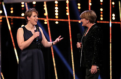 Lizzy Yarnold is interviewed on stage during the BBC Sports Personality of the Year 2018 at Birmingham Genting Arena.