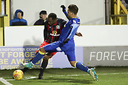 AFC Wimbledon attacker Harry Forrester (11) tackling Blackburn Rovers defender Ryan Nyambe (2) during the EFL Sky Bet League 1 match between AFC Wimbledon and Blackburn Rovers at the Cherry Red Records Stadium, Kingston, England on 27 February 2018. Picture by Matthew Redman.