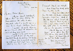 ***COPY FOUND HERE: https://www.dropbox.com/s/bj4js2ci6ctmtyw/Soldiers.txt *** © Licensed to London News Pictures. 05/02/2014 London, UK. A letter from Lt Beach's father thanking Driver Fred Harris for saving his sons life on a recon mission in northern France in 1944. Photo credit : Simon Jacobs/LNP