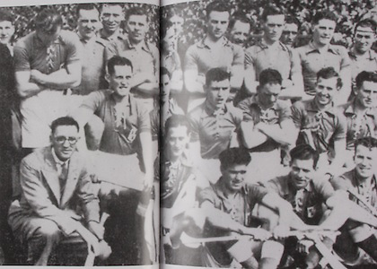 Dublin All-Ireland Hurling Champions 1938. Back Row: Unknown, Harry Grey, Bobby Ryan, Jack Gilmartin, Paddy Doody, Tom Teehan, Arthur Murphy, Mick Flynn, Ned Maher, J Donegan, Barny Crosby, Paddy Crowley, Charile McMahon, Unknown, T Breen. Middle Row: Jim Byrne, Phil Farrell, Mick Butler, Mick Daniels (capt), Charlie Downes, Paddy Brophy, Paddy McCormack, Christy Forde. Front Row: Sean McCabe (Hurling Sec), Larry Hayes, Mossy McDonnell, Mick Gill, Bill Loughnane, Dave Hurley, Dixie O'Brien.