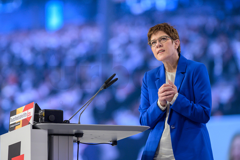 22 NOV 2019, LEIPZIG/GERMANY:<br /> Annegret Kramp-Karrenbauer, CDU Bundesvorsitzende und Bundesverteidigungsministerin, haelt eine Rede, im Hintergrund die Delegierten des Parteitages auf einem Screen, CDU Bundesparteitag, CCL Leipzig<br /> IMAGE: 20191122-01-127<br /> KEYWORDS: Parteitag, party congress