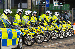 Glasgow, Scotland, UK. 21st October 2021. Final preparations underway at the site of the UN Climate Change Conference COP26 to be held in Glasgow from Oct 31st. Pic; Police motorcycles during a break from high speed practice escort practice.  Iain Masterton/Alamy Live News.