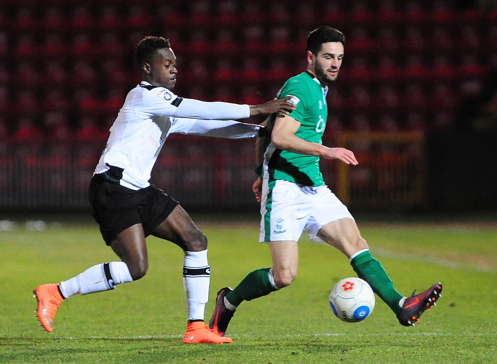 Lincoln City's Sam Habergham vies for possession with Gateshead's Toby Ajala<br /> <br /> Photographer Andrew Vaughan/CameraSport<br /> <br /> The Buildbase FA Trophy - The Buildbase FA Trophy Second Round - Gateshead v Lincoln City - Saturday 14th January 2017 - Gateshead International Stadium - Gateshead<br />  <br /> World Copyright © 2017 CameraSport. All rights reserved. 43 Linden Ave. Countesthorpe. Leicester. England. LE8 5PG - Tel: +44 (0) 116 277 4147 - admin@camerasport.com - www.camerasport.com