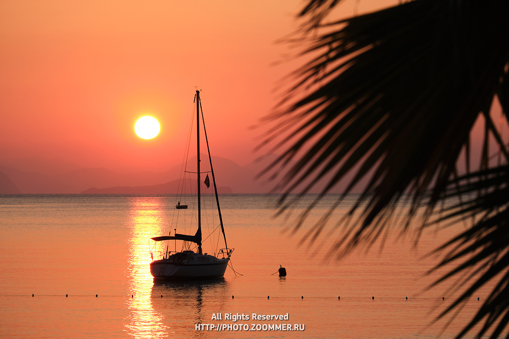 Sunrise over Turkey beach, Turunc near Marmaris