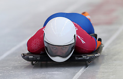 Netherland's Kimberley Bos during the Women's Skeleton practice on day three of the PyeongChang 2018 Winter Olympic Games in South Korea. PRESS ASSOCIATION Photo. Picture date: Monday February 12, 2018. See PA story OLYMPICS Skeleton. Photo credit should read: David Davies/PA Wire. RESTRICTIONS: Editorial use only. No commercial use.