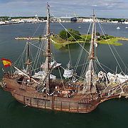 El Galeón Andalucía docked at the commercial fishing pier in Portsmouth, NH during its appearance at Sail Portsmouth, July 22, 2015. Sponsored by the Piscataqua Maritime Commission.