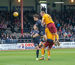 Motherwell's Andy Rose header. half time : Dundee 0 v 0 Motherwell, SPFL Ladbrokes Premiership game played 1/9/2018 at Dundee's Kilmac stadium Dens Park
