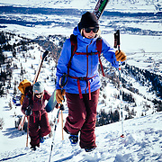Hadley Hammer and Angel Collinson head out to ski some of the classic extreme Teton backcountry lines.