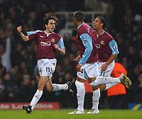 Photo: Daniel Hambury.<br />West Ham United v Fulham. The Barclays Premiership. 23/01/2006.<br />West Ham's Yossi Benayoun (L) celebrates his goal with team mates.