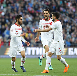 June 5, 2018 - Moscow, Russia - Yunus Malli (L) of Turkey celebrates his goal with teammates Kenan Karaman (C) and Hasan Ali Kaldirim (L) during the soccer friendly match between Russia and Turkey at VTB arena in Moscow, Russia, 05 June 2018. (Credit Image: © Depo Photos via ZUMA Wire)