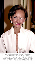 YVONNE, MARCHIONESS OF BRISTOL at a party in London on 13th June 2001.<br />