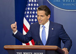 July 21, 2017 - Washington, District of Columbia, United States of America - Incoming White House communications director Anthony Scaramucci answers reporter's questions during his first press briefing during his first day on the job in the Brady Press Briefing Room of the White House in Washington, DC on Friday, July 21, 2017.  During his opening remarks, Scaramucci announced that Sarah Huckabee Sanders would take over as press secretary from Sean Spicer..Credit: Ron Sachs / CNP (Credit Image: © Ron Sachs/CNP via ZUMA Wire)