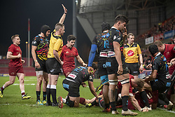 March 23, 2019 - Limerick, Ireland - Jeremy Loughman of Munster scores a try during the Guinness PRO14 match between Munster Rugby and Zebre at Thomond Park Stadium in Limerick, Ireland on March 23, 2019  (Credit Image: © Andrew Surma/NurPhoto via ZUMA Press)
