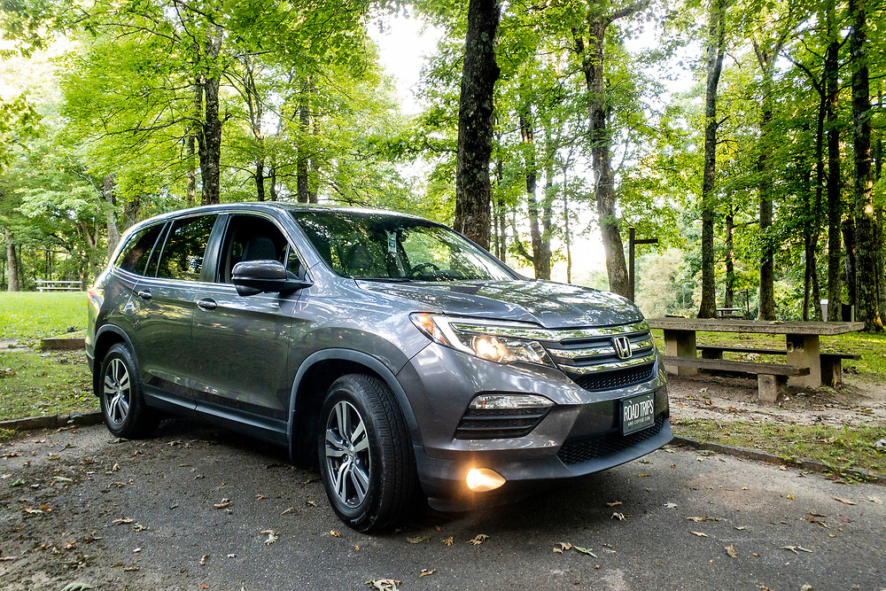 The Honda Pilot parked for the night at Crabtree Falls Campground on the Blue Ridge Parkway in North Carolina on Sunday, August 29, 2021. Copyright 2021 Jason Barnette