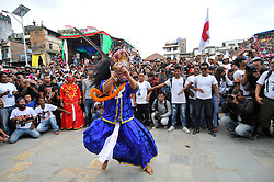 September 15, 2016 - Kathmandu, Nepal - Traditional mask dancer, dancing in the ritual tunes on the third day of Indra Jatra Festival celebrated at Basantapur Durbar Square, Kathmandu. Devotees celebrated the god of rain 'Indra' for 8 days in Kathmandu. (Credit Image: © Narayan Maharjan/Pacific Press via ZUMA Wire)