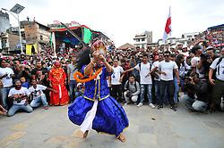 September 15, 2016 - Kathmandu, Nepal - Traditional mask dancer, dancing in the ritual tunes on the third day of Indra Jatra Festival celebrated at Basantapur Durbar Square, Kathmandu. Devotees celebrated the god of rain 'Indra' for 8 days in Kathmandu. (Credit Image: © Narayan Maharjan/Pacific Press via ZUMA Wire)