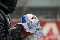 A member of the Rotherham United staff cleans a match ball<br /> <br /> Photographer Alex Dodd/CameraSport<br /> <br /> The EFL Sky Bet Championship - Rotherham United v Preston North End - Saturday 7th November 2020 - New York Stadium - Rotherham<br /> <br /> World Copyright © 2020 CameraSport. All rights reserved. 43 Linden Ave. Countesthorpe. Leicester. England. LE8 5PG - Tel: +44 (0) 116 277 4147 - admin@camerasport.com - www.camerasport.com
