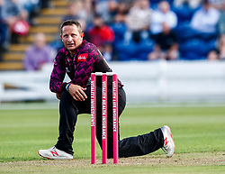Roelof van der Merwe of Somerset in action today <br /> <br /> Photographer Simon King/Replay Images<br /> <br /> Vitality Blast T20 - Round 1 - Glamorgan v Somerset - Thursday 18th July 2019 - Sophia Gardens - Cardiff<br /> <br /> World Copyright © Replay Images . All rights reserved. info@replayimages.co.uk - http://replayimages.co.uk