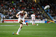 England's Luke Gale (7 Castleford Tigers) kicks the extra points during the Ladbrokes Four Nations match between England and Scotland at the Ricoh Arena, Coventry, England on 5 November 2016. Photo by Craig Galloway.