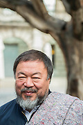 Ai Weiwei doing interviews (in front of his Trees) before leaving the Royal Academy in a media scrummage - Anish Kapoor and Ai Weiwei go for a walk in London - The two artists have joined hands to walk out of London on Thursday. Each will carry a single blanket as a symbol of the need that faces 60 million refugees in the world today. The Artists have said that they welcome Londoners to join them along their route and ask that Londoners too bring a blanket in gesture of support. The artists will repeat this action in cities across the world over the next few months. The walk started at 10am on Thursday 17th September, at the Royal Academy of Arts passed: Piccadilly Circus; Trafalgar Square; Whitehall;  St Paul's Cathedral; Bank and ended up at Stratford.