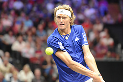 September 22, 2018 - Chicago, Illinois, United States - ALEXANDER ZVEREV of Germany in action during his match v. J. Isner in the 2018 Laver Cup tennis event in Chicago. (Credit Image: © Christopher Levy/ZUMA Wire)