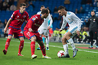 Real Madrid Dani Ceballos and CD Numancia Unai Medina and Nacho Sanchez  during King's Cup match between Real Madrid and CD Numancia at Santiago Bernabeu Stadium in Madrid, Spain. January 10, 2018. (ALTERPHOTOS/Borja B.Hojas)