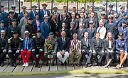 Henley on Thames, England, United Kingdom, Tuesday, 02.07.19, Members of the crews of the Armed Forces, taking part in the King's Cup, with Sir Steven REDGRAVE (centre front), Chairman of HRR, Henley Royal Regatta,  Henley Reach, [©Karon PHILLIPS/Intersport Images]<br /> <br /> 11:44:54 1919 - 2019, Royal Henley Peace Regatta Centenary,