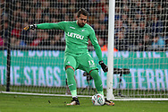 Kristoffer Nordfeldt, the Swansea city goalkeeper in action. EFL Carabao Cup 4th round match, Swansea city v Manchester Utd at the Liberty Stadium in Swansea, South Wales on Tuesday 24th October 2017.<br /> pic by  Andrew Orchard, Andrew Orchard sports photography.
