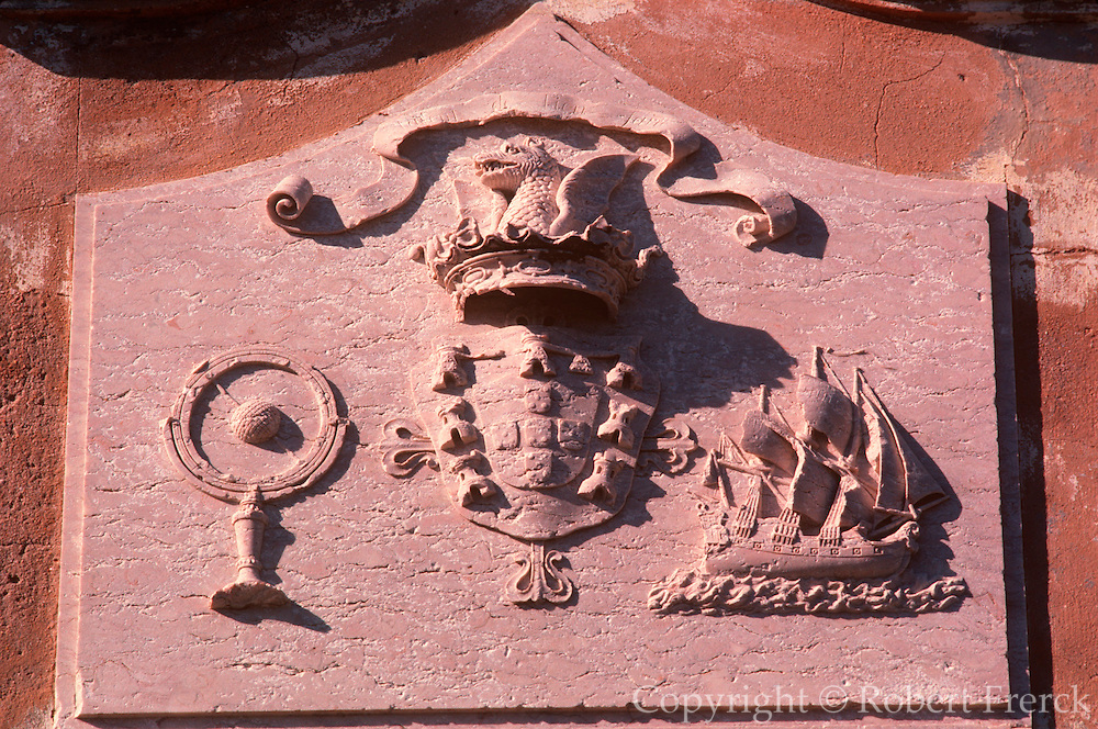 PORTUGAL, ALGARVE, SOUTH COAST Sagres, Henry the Navigator's famous fortress and School of Navigation, detail of stone shield with ship