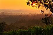Tuscan landscape surrounding San Gimignano, Italy at sunrise