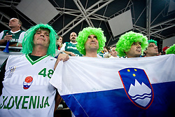 Slovenian fans before the EuroBasket 2009 Group F match between Slovenia and Turkey, on September 16, 2009 in Arena Lodz, Hala Sportowa, Lodz, Poland.  (Photo by Vid Ponikvar / Sportida)