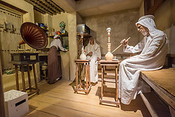 Exhibit of traditional coffee shop inside National Museum of Bahrain, Manama, Kingdom of Bahrain.