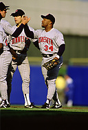 MILWAUKEE - 1988:  Kirby Puckett of the Minnesota Twins celebrates with teammates after an MLB game against the Milwaukee Brewers at County Stadium in Milwaukee, Wisconsin during the 1988 season. (Photo by Ron Vesely) Subject:   Kirby Puckett