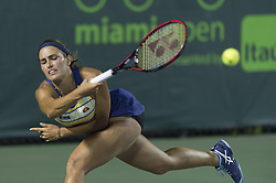 March 26, 2018 - Miami, FL, United States - KEY BISCAYNE, FL - March, 26:Monica Puig (PUR) loses 63 46 26 to Danielle Collins (USA) at the 2018 Miami Open on March 24, 2018, at the Tennis Center at Crandon Park in Key Biscayne, FL. (Credit Image: © Andrew Patron via ZUMA Wire)