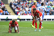 Nahki Wells of Huddersfield Town (l) and Mark Hudson of Huddersfield Town ® react after Nahki Wells of Huddersfield Town misses a chance to score in the final minute. EFL Skybet  championship match, Reading  v Huddersfield Town at The Madejski Stadium in Reading, Berkshire on Saturday 24th September 2016.<br /> pic by John Patrick Fletcher, Andrew Orchard sports photography.