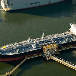 Aerial view of Petroleum Tanker in New York Harbor