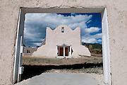 A color image of the San Lorenzo Church in Picuris Pueblo in New Mexico.