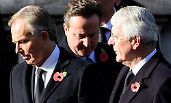 © Licensed to London News Pictures. 13/11/2016. London, UK.   Former British prime ministers, L to R TONY BLAIR, DAVID CAMERON and JOHN MAJOR attend a Remembrance Day Ceremony at the Cenotaph war memorial in London, United Kingdom, on November 13, 2016 . Thousands of people honour the war dead by gathering at the iconic memorial to lay wreaths and observe two minutes silence. Photo credit: Ben Cawthra/LNP