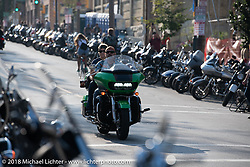 Riders coming in for the Brady Street Experience, where Brady was closed to 4-wheelers and a street party raged until late at night during the Harley-Davidson 115th Anniversary Celebration event. Milwaukee, WI. USA. Friday August 31, 2018. Photography ©2018 Michael Lichter.