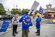 "Anti-Brexit and HS2 Protestors appeared outside the British House of Parliament on Wednesday, July 8, 2020 - in support of the ""Save British Farming"" group who drove their tractors throughout Westminster in central London to protest the agriculture bill that is currently going through parliament. <br /> HS2 protestors arrived in London on the early morning of Wednesday to support the TV presenter Chris Packham who is appealing the High Court decision which refused him permission to bring a claim against the Government's decision to give the green light to HS2. (VXP Photo/ Vudi Xhymshiti)"