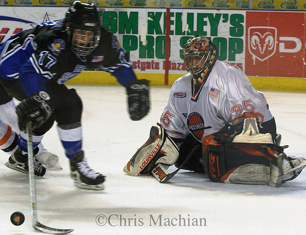 - Council Bluffs, IA. 4/25/2003 River City Lancer goalie Dominic Vicari watches  Lincoln Stars forward Brent Borgen tries gain control of the puck at the Mid America Center Friday evening (Chris Machian/Prairie Pixel Group)