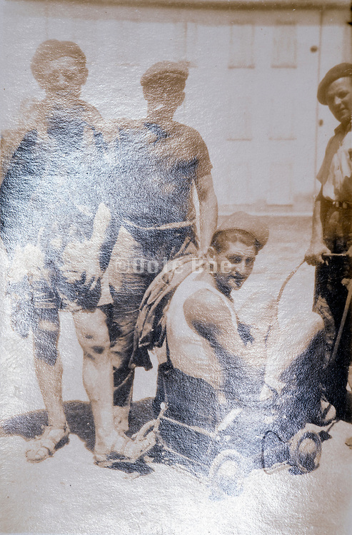 construction workers fooling around photo with light reflection ca 1930s France