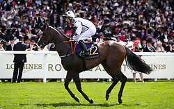 Little Kim ridden by Jockey Ben Curtis gies to post for the Queen Mary Stakes