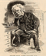 John Bright (1811-1889) English radical statesman, born in Rochdale, Lancashire. Anti-Corn Law League. Reform Act 1867. Cartoon by Edward Linley Sambourne in the Punch's Fancy Portraits series from 'Punch' (London, 27 November 1880).