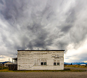 Angry clouds gather around the old post office in Leadore, Idaho.