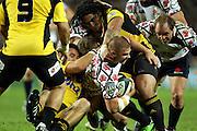 Drew Mitchell hits the gap through Ma'a Nonu<br /> Super 14 rugby union match, Waratahs vs Hurricanes, Sydney, Australia. <br /> Saturday 14 May 2010. Photo: Paul Seiser/PHOTOSPORT